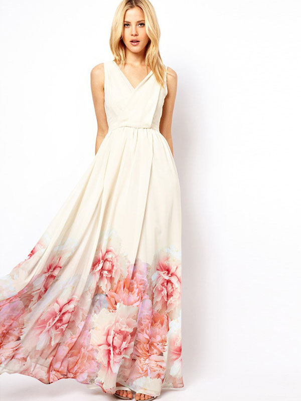 c86580bd74b White Maxi Dress Boho Chiffon V Neck Sleeveless Floral Printed Pleated Long  Dress-No.