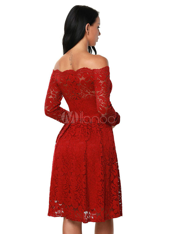75364d4efd ... White Lace Dress Off The Shoulder Long Sleeve Slim Fit A Line Skater  Dress For Women ...