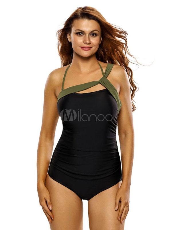 One Piece Swimwear Women s Black Halter Asymmetric Design Color Block  Bathing ... 127dd75a0