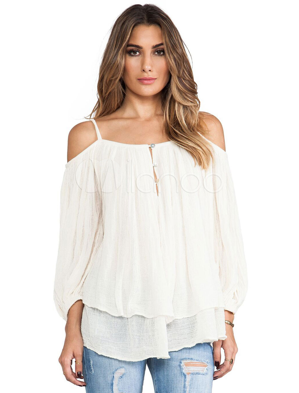 44fd82691c277e ... White Linen Blouse Spaghetti Straps 3 4 Length Sleeve Buttons Decor  Cold Shoulder Chic Top. 1. 35%OFF. Color White