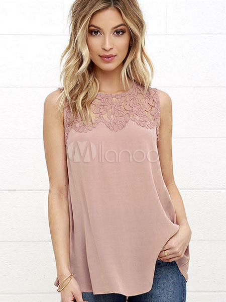 Chiffon Tank Top Salmon Lace Round Neck Sleeveless Casual Top For Women Cheap clothes, free shipping worldwide