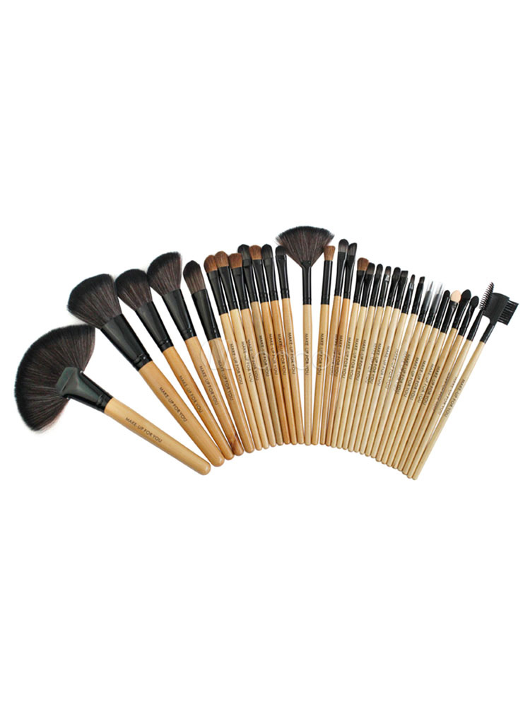 Milanoo / Professional Makeup Combo 32 Beauty Brushes With 4 Powder Sponge Set For Women