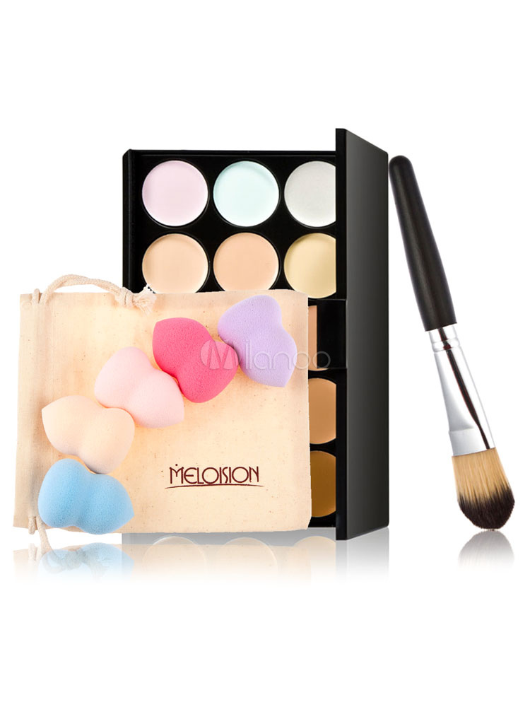Makeup Combo Set Earth Tone Eyeshadow Palette And Brush With Beauty Sponge In Random Color