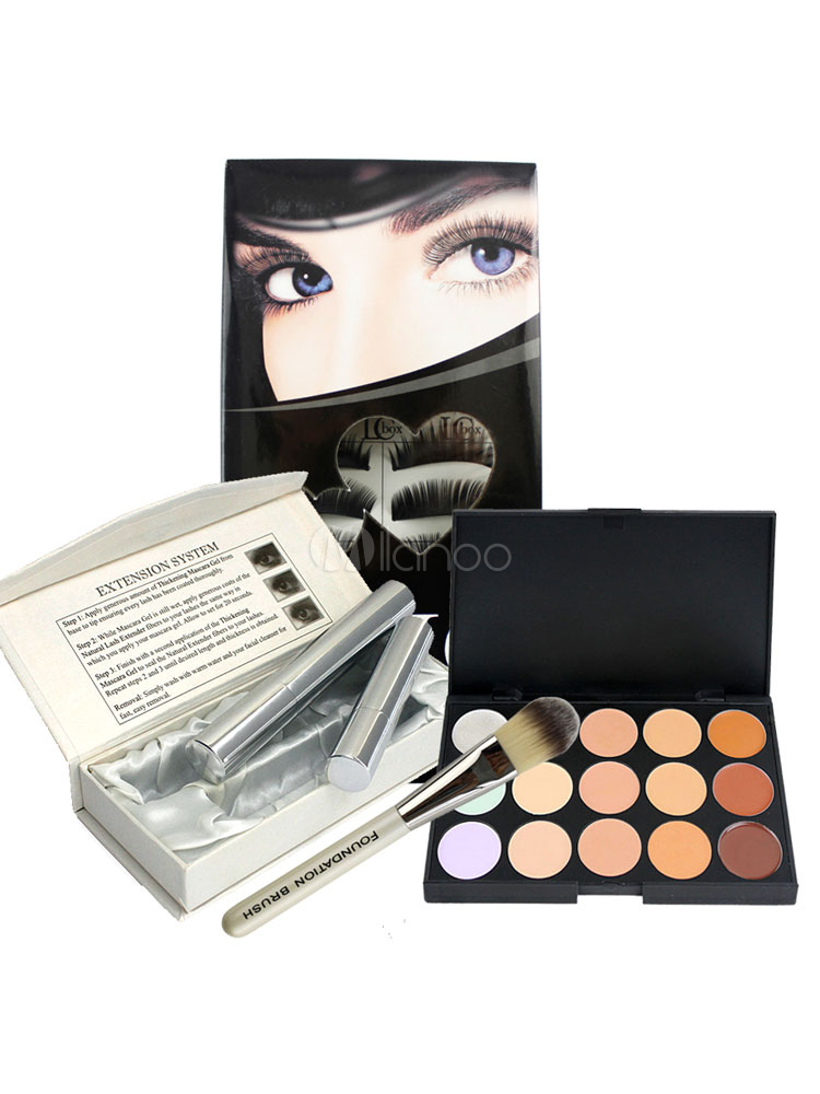 Buy Women's Makeup Set Black False Lashes With Eye Shadow In 4 Piece Set for $9.34 in Milanoo store