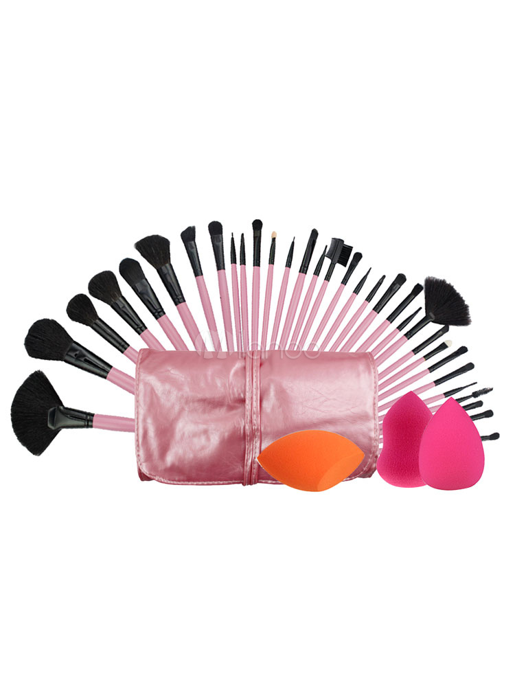 Professional's Makeup Set 32 Pink Beauty Brushes And 3 Powder Sponge With Case