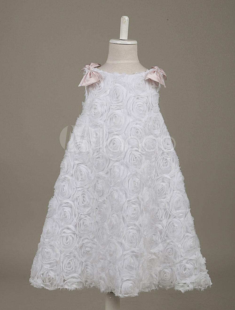Flower Girl Dresses White Lace Boho Sleeveless Bow Deco