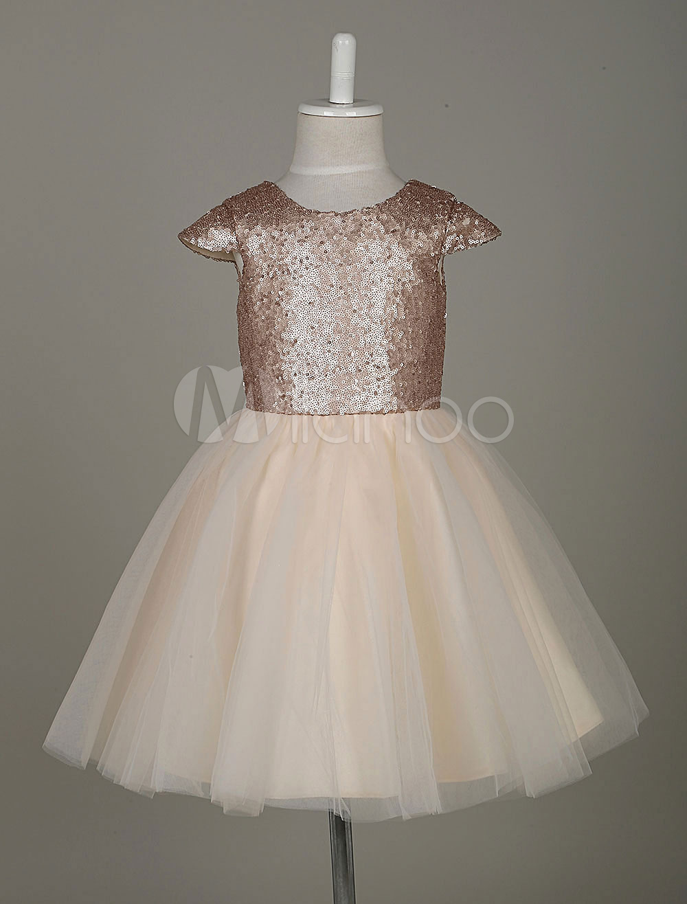 81a7cec4223 Flower Girl Dresses Light Gold Sequin Tutu Dress A Line Short Sleeve ...