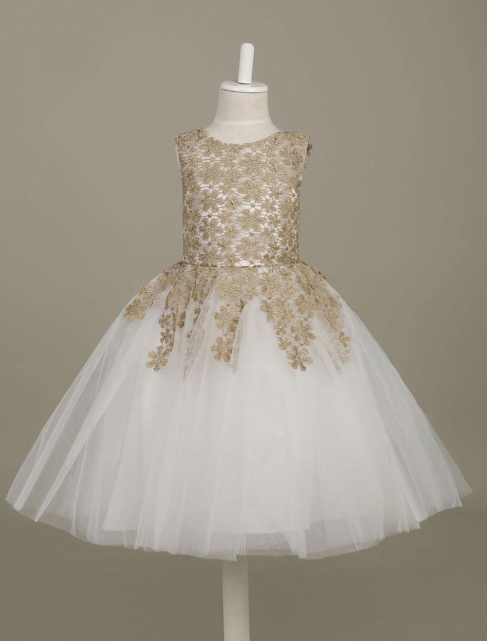 3c74920cff8 Flower Girl Dress Lace Light Gold Tutu Dress Sleeveless A Line Knee ...