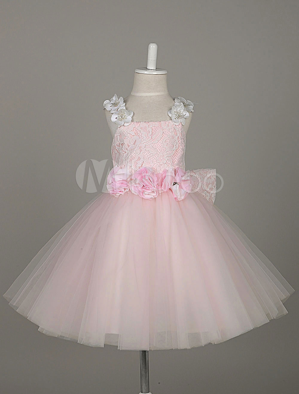 b9fa7211e Flower Girl Dresses Light Pink Tutu Dress Lace Tulle Flowers Straps ...