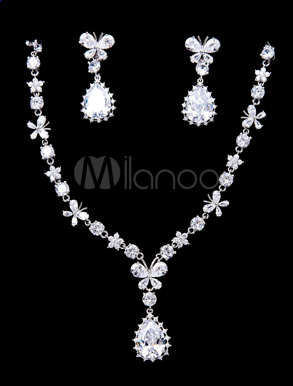 Buy Silver Wedding Jewelry Beaded Butterfly Bridal Pendant Necklace With Drop Earrings for $46.79 in Milanoo store