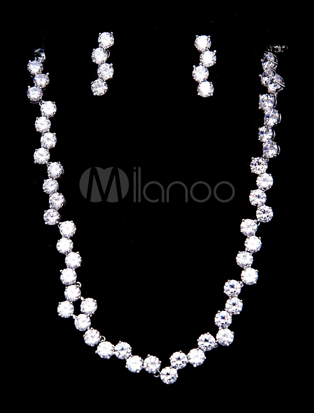 Buy Silver Wedding Jewelry Beaded Bridal Vintage Necklace Set With Clip Earrings for $46.79 in Milanoo store
