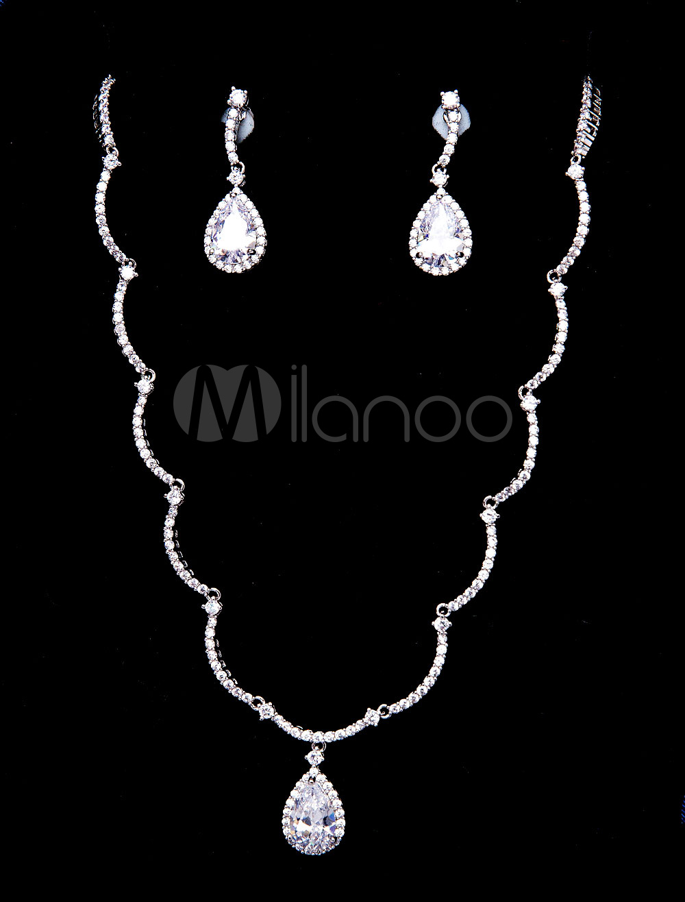 Buy Silver Wedding Jewelry Vintage Beaded Bridal Necklace Set With Drop Earrings for $38.69 in Milanoo store