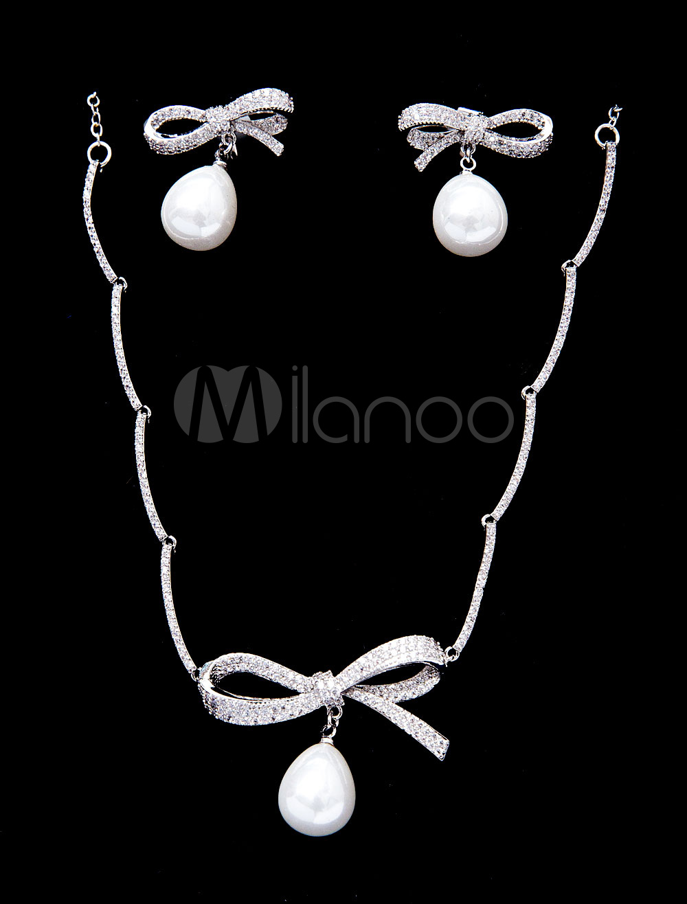 Wedding Jewelry Set Vintage Pears Beaded Bowknot Bridal Pendant Necklace With Drop Earrings