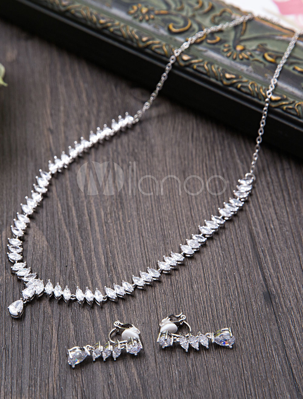 Silver Wedding Jewelry Beaded Zirconia Bridal Necklace Set With Clip On Earrings