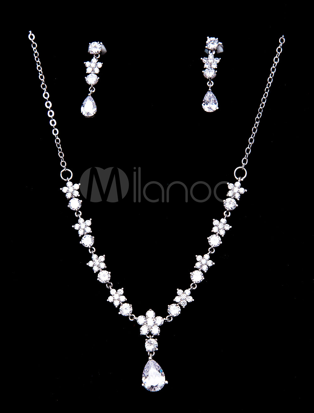Buy Wedding Jewelry Set Silver Beaded Bridal Pendant Necklace With Clip On Earrings for $26.99 in Milanoo store