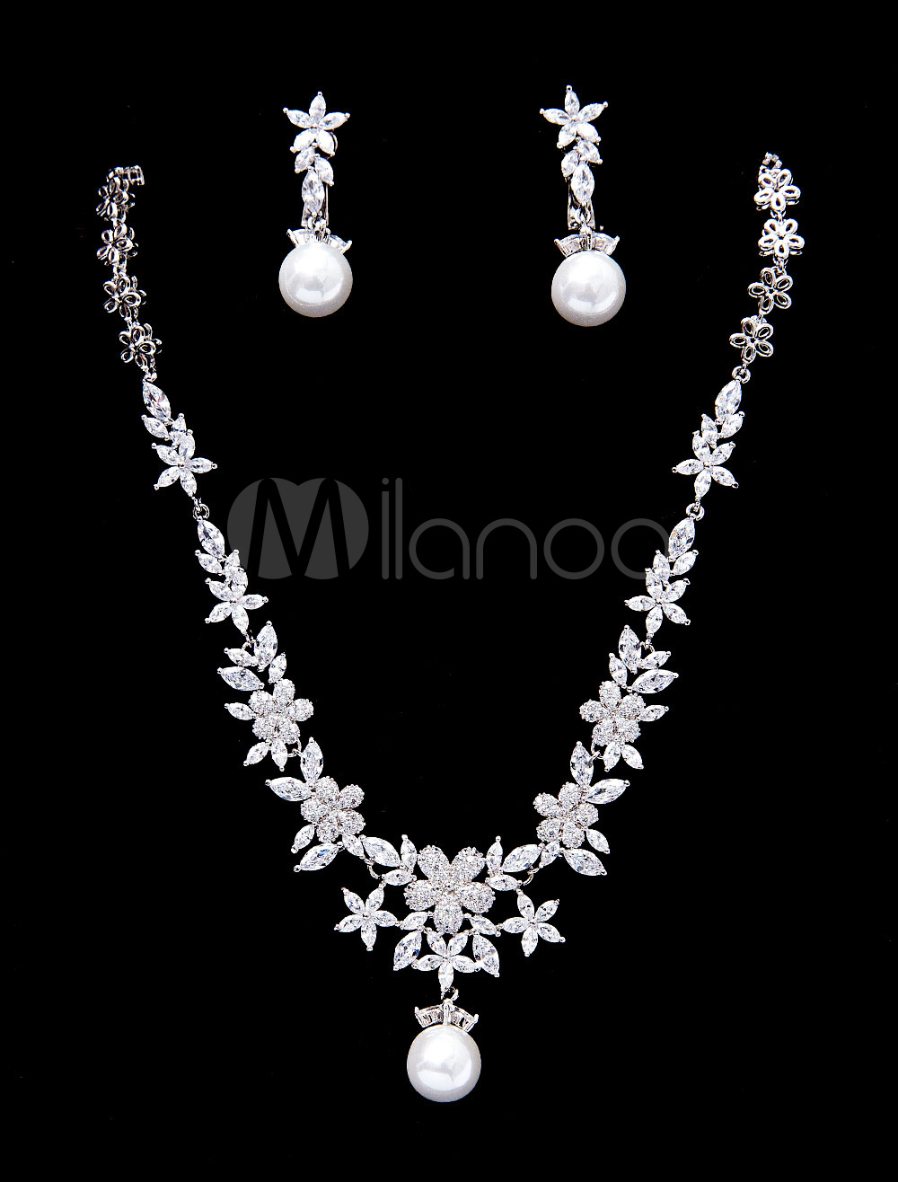 Wedding Jewelry Set Silver Pearls Beaded Bridal Pendant Necklace With Clip Earrings