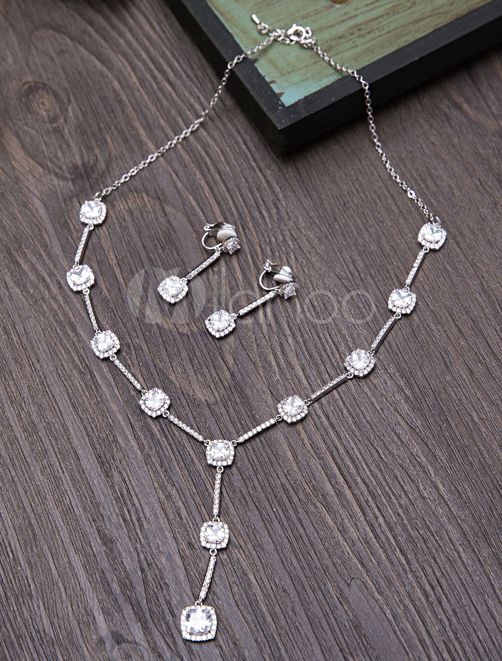 Buy Wedding Jewelry Set Silver Beaded Bridal Y Necklace With Dangle Earrings for $46.79 in Milanoo store