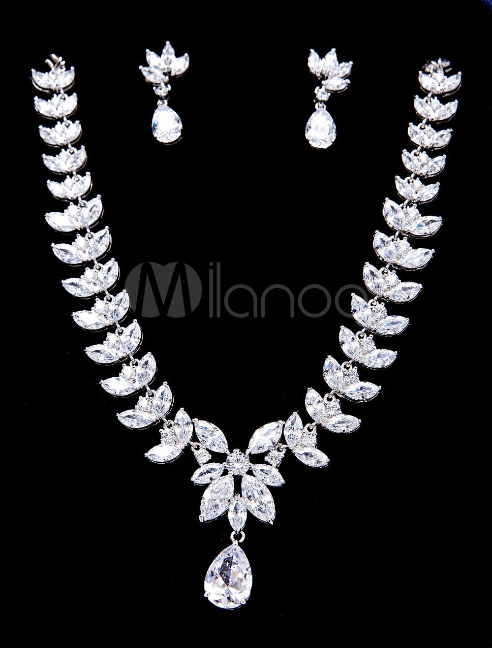 517326fec778 ... Set de joyería Pendientes de clip de metal para chicas plateado estilo  clásico para boda -. 1. -35%. color plateado
