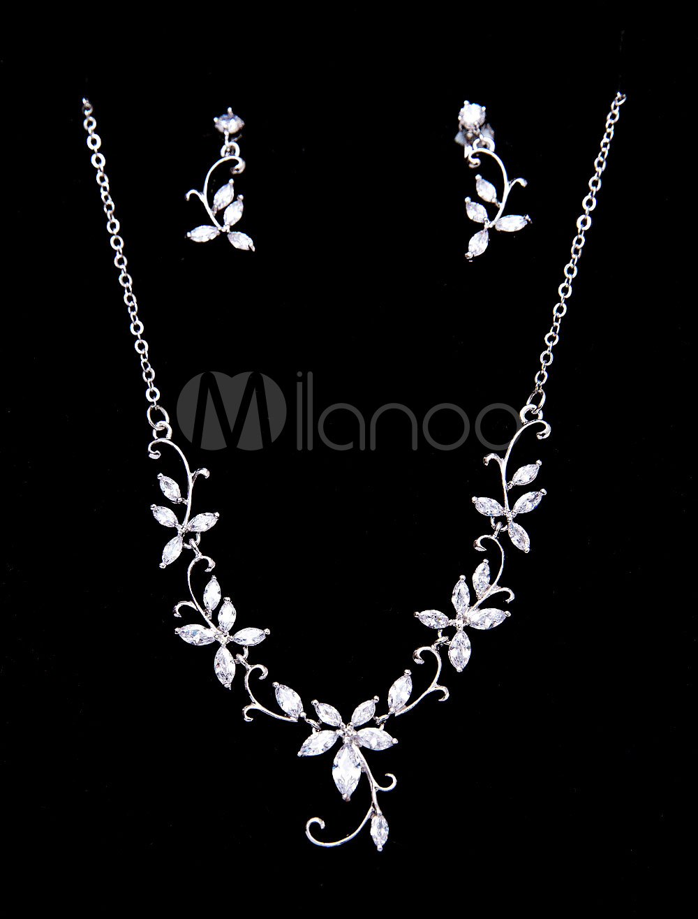 Wedding Jewelry Set Chain Beaded Bridal Silver Necklace With Clip On Earrings