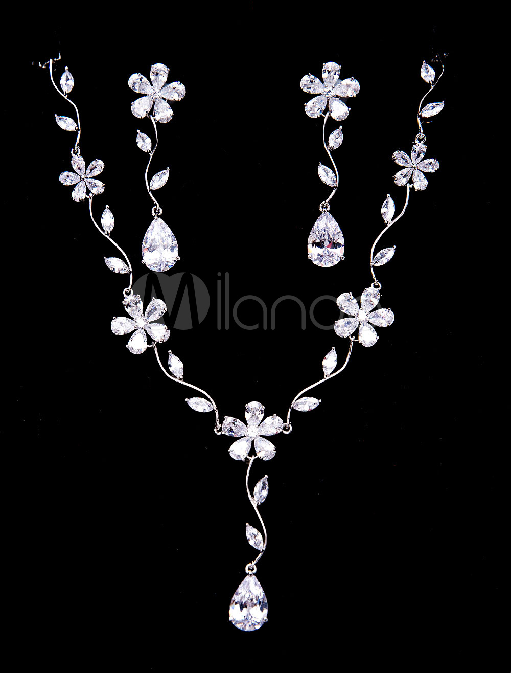 Buy Silver Wedding Jewelry Beaded Zirconia Bridal Pendant Necklace Set With Dangle Earrings for $37.79 in Milanoo store