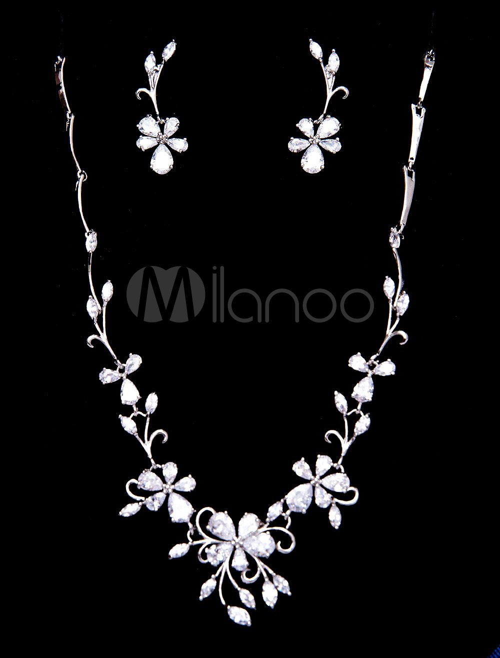 Buy Silver Wedding Jewelry Beaded Zirconia Bridal Necklace Set With Clip Earrings for $35.99 in Milanoo store