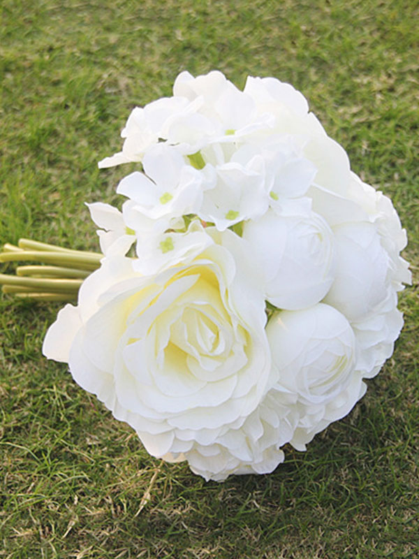 White Wedding Bouquet Silk Flowers Hand Tied Bridal Bouquet