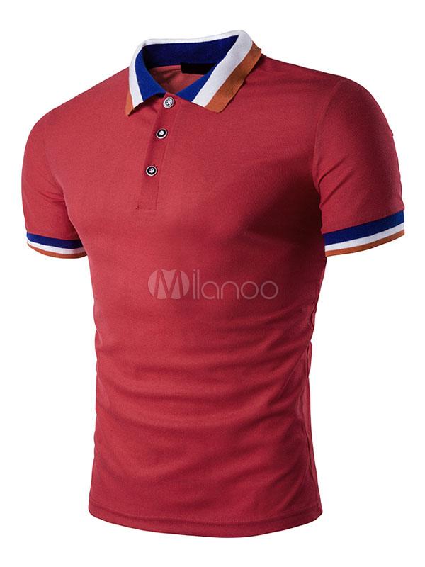 Buy Red Polo Shirt Men's Turndown Collar Short Sleeve Regular Fit Cotton Shirt for $18.99 in Milanoo store