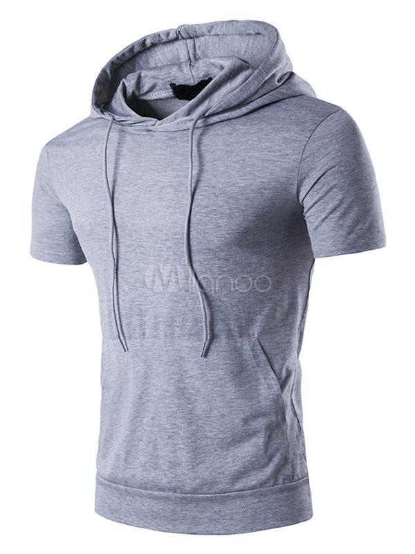 Short Sleeve T Shirt Hooded Drawstring Cuff Regular Fit Cotton Top Men Casual T Shirt