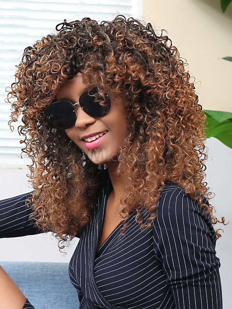 Buy Deep Brown Hair Wigs African American Tousled Corkscrew Curls Synthetic Wigs for $22.49 in Milanoo store