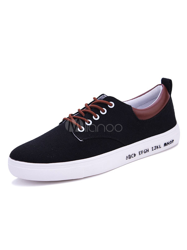 Milanoo / Black Canvas Shoes Men's Round Toe Color Block Lace Up Athletic Shoes