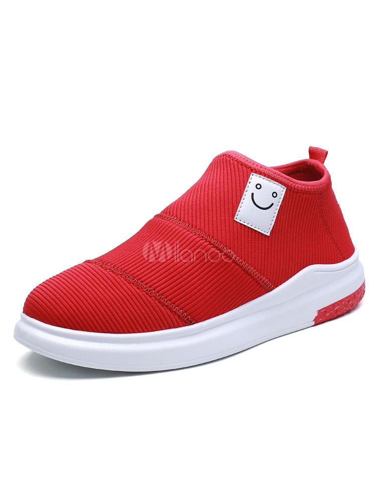 Milanoo / Men's Red Sneakers Color Block Smiley Printed Elastic Fabric Skate Shoes