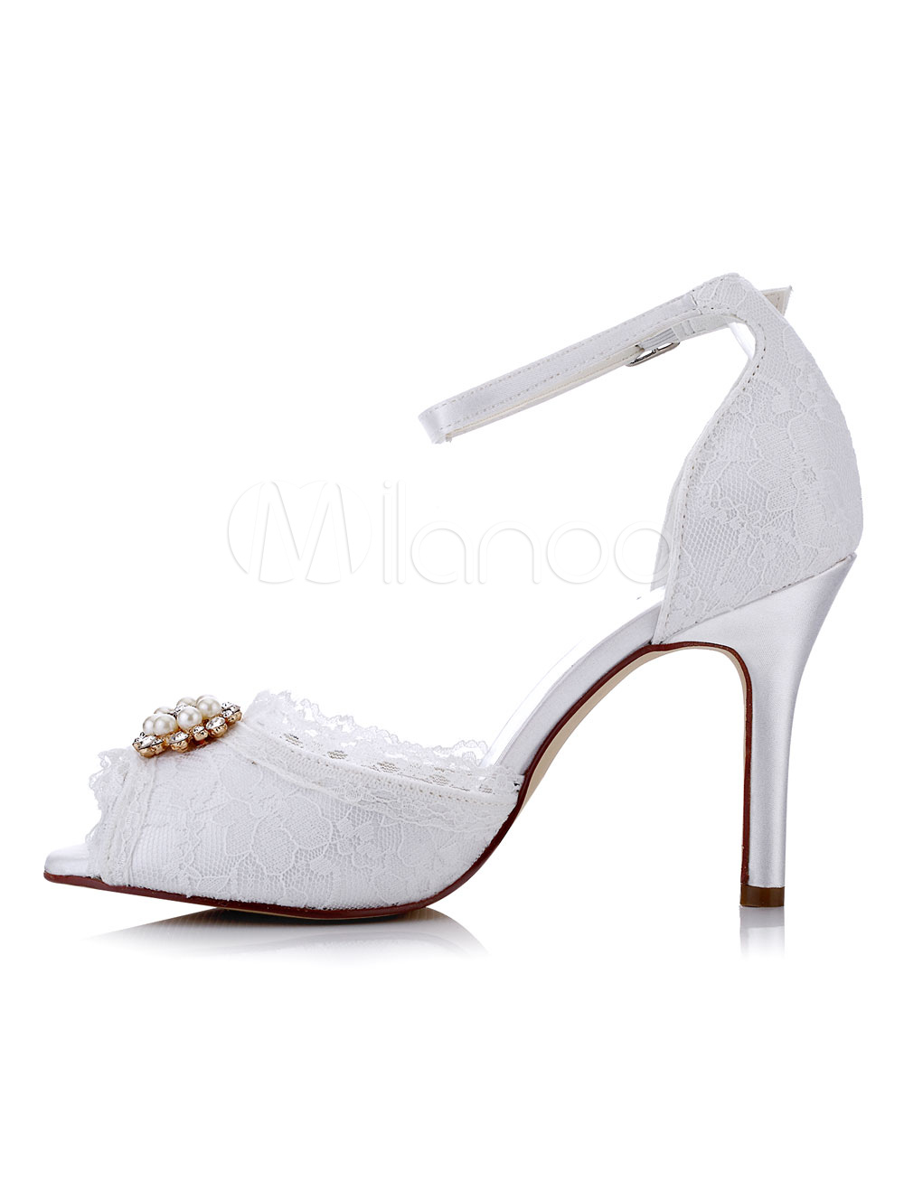 Buy White Wedding Shoes Lace High Heel Peep Toe Pearls Beaded Ankle Strap Bridal Shoes for $55.09 in Milanoo store