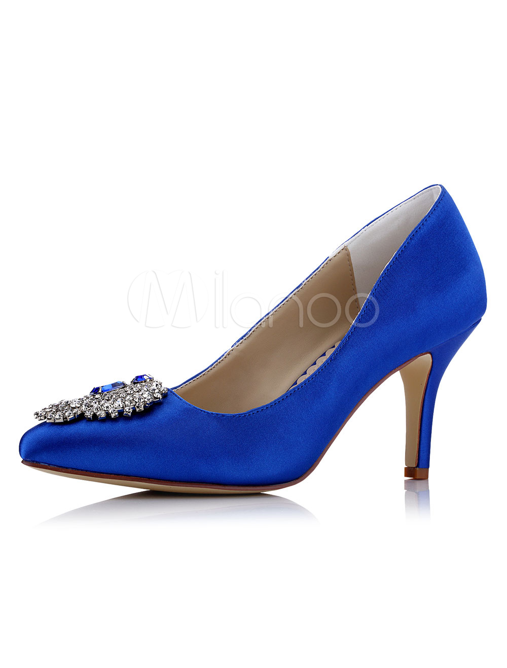 Buy Blue Wedding Shoes Satin High Heel Pointed Toe Rhinestones Beaded Slip On Bridal Pumps for $56.99 in Milanoo store