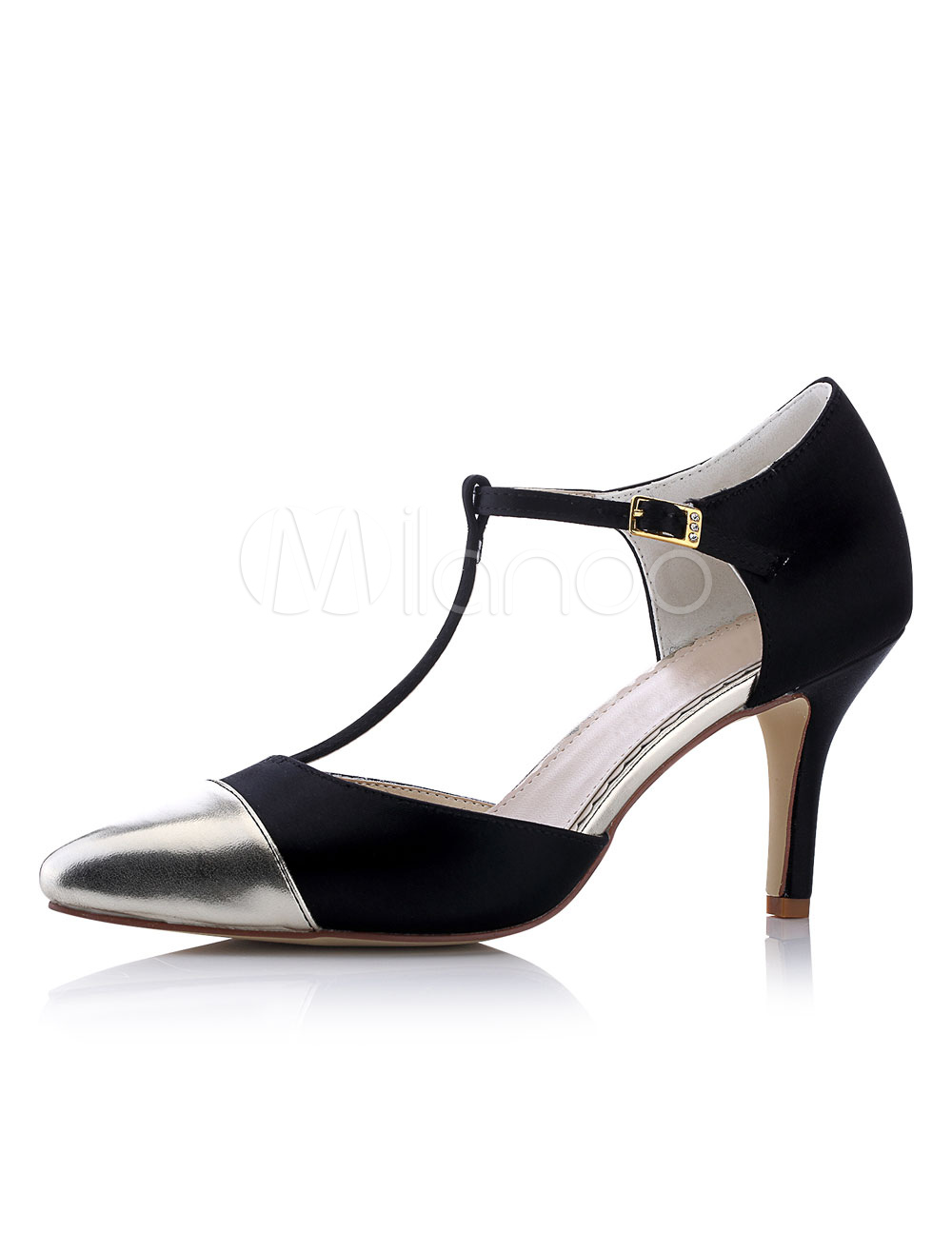 Buy Black Wedding Shoes Satin High Heel Pointed Toe T Type Buckled Bridal Shoes for $56.99 in Milanoo store