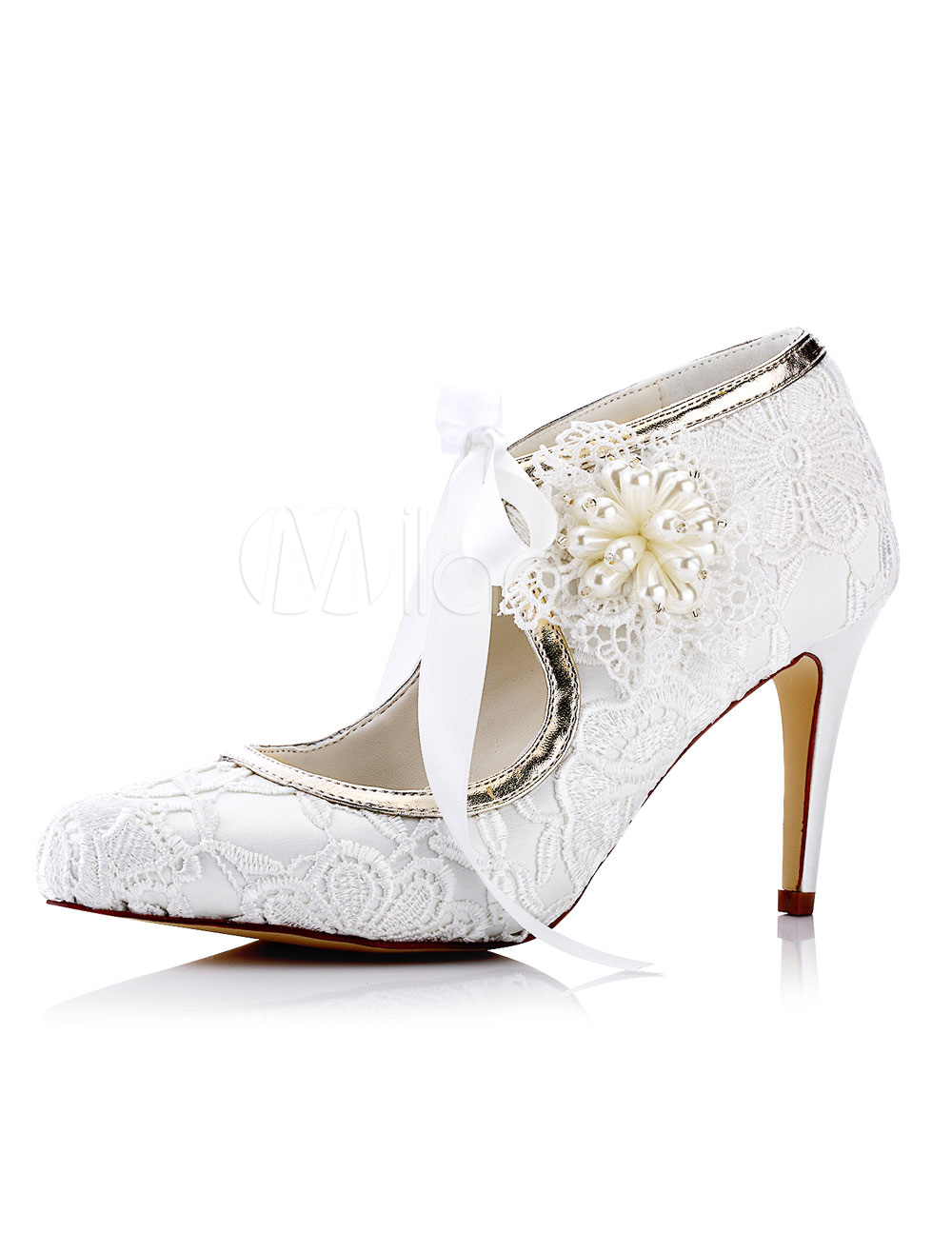 Buy Lace Wedding Shoes White Pointed Toe Rhinestones Beaded High Heel Bridal Shoes for $55.09 in Milanoo store