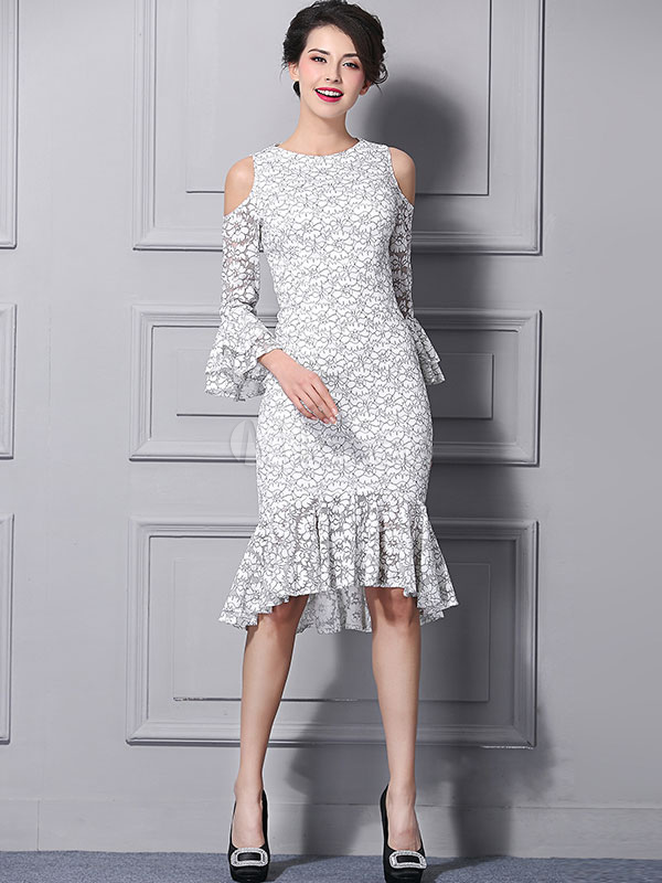 White Lace Dress Round Neck Bell Half Sleeve Cold Shoulder Peplum Hem Bodycon  Dress-No ... 98377008d