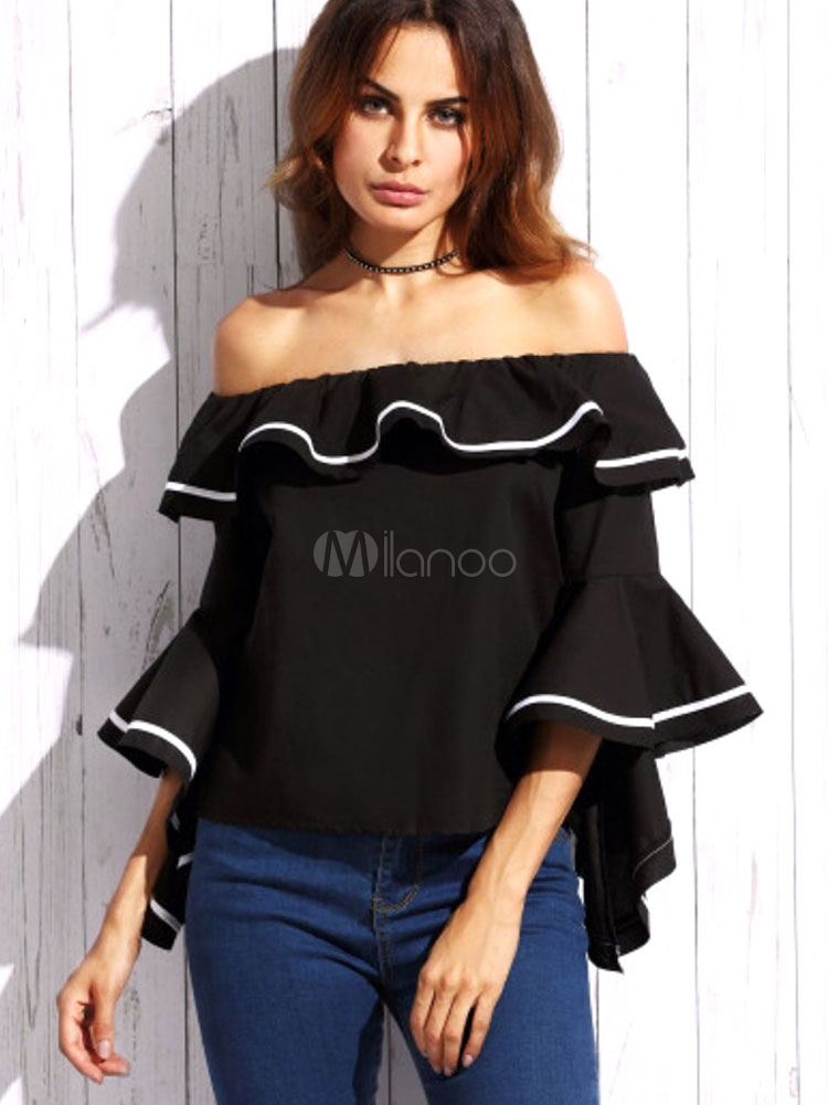 Buy Women's Black Blouse Off The Shoulder 3/4 Length Flared Sleeve Ruffles Color Block Chic Top for $9.59 in Milanoo store