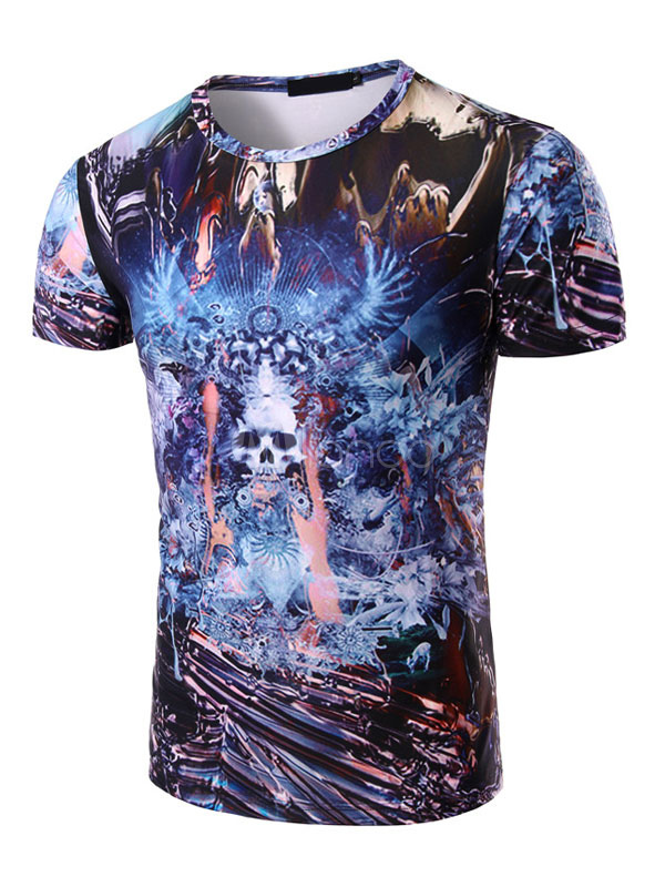 Buy Blue Men's T Shirt Short Sleeve Round Neck Printed Casual Top for $17.99 in Milanoo store