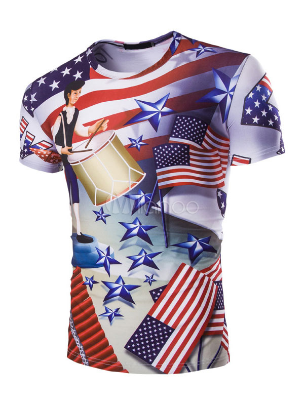 Buy Men's Casual T Shirt Round Neck Short Sleeve Independence Day Printed Slim Top for $17.99 in Milanoo store