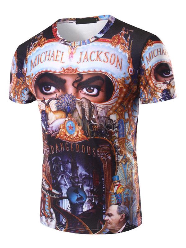 Men T Shirt Black Crewneck Short Sleeve Casual T Shirt Michael Jackson Print Summer Top