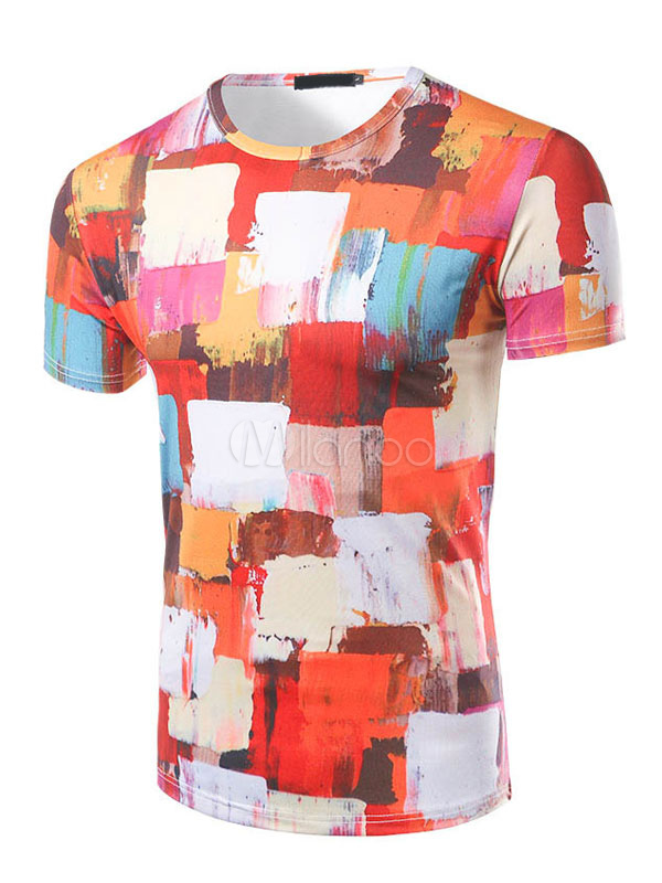 Buy Men's Orange T Shirt Round Neck Short Sleeve Paint Patchwork Color Block Slim Fit T Shirt for $18.99 in Milanoo store