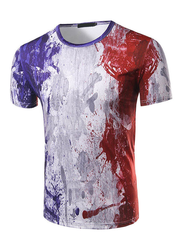 Buy Men's Casual T Shirt Round Neck Short Sleeve French Flag Printed Color Block Patriotic Slim T Shirt for $19.54 in Milanoo store