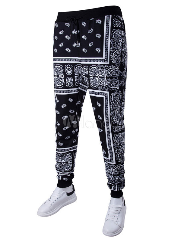 Black Harem Pants Men's Paisley Printed Casual Pants