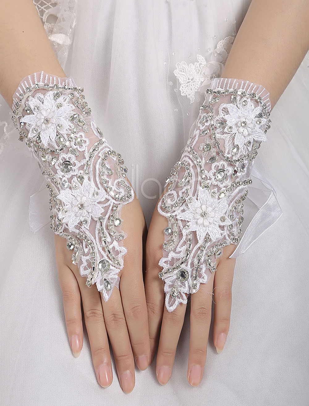 1a4eea2fa6b ... Short Wedding Gloves White Fingerless Lace Applique Rhinestones Beaded  Bridal Gloves-No.3. 1. 30%OFF. Color White