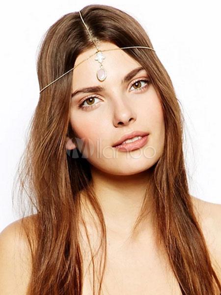 Boho Head Chains Pink Pendant Forehead Chains Women's Hair Accessories Cheap clothes, free shipping worldwide
