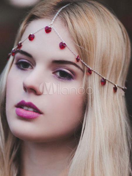 Red Head Chains Boho Women's Triple Forehead Chains Beaded Hair Accessories Cheap clothes, free shipping worldwide
