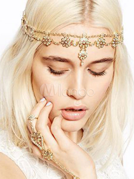 Gold Head Band Boho Beaded Forehead Chains Women's Hair Accessories