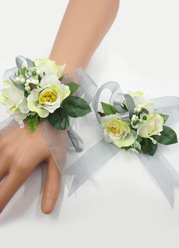 Milanoo Wedding Flower Corsage Bracelet Set Sage Green Silk Flowers Prom Wrist With Brooch