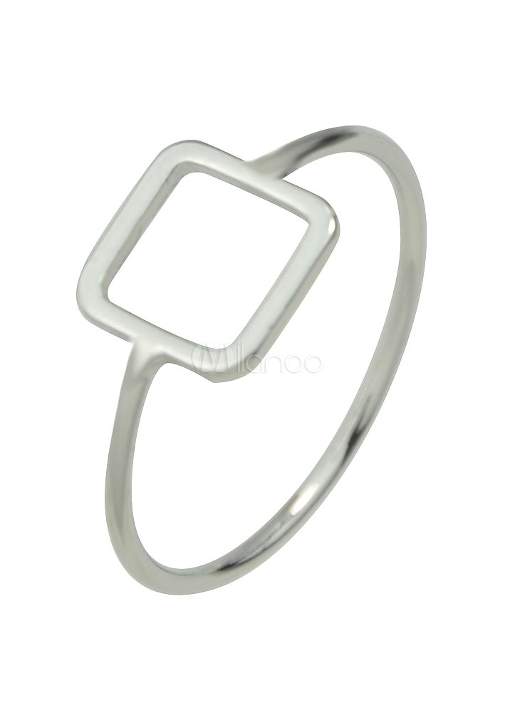 Silver Women's Rings Alloy Geometric Square Shape Engagement Rings