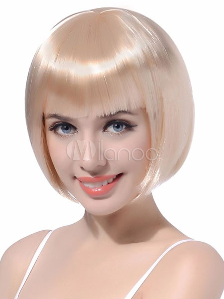 Buy Short Hair Wigs Bobs White Women's Blunt Fringe Straight Synthetic Hair Wigs for $10.11 in Milanoo store